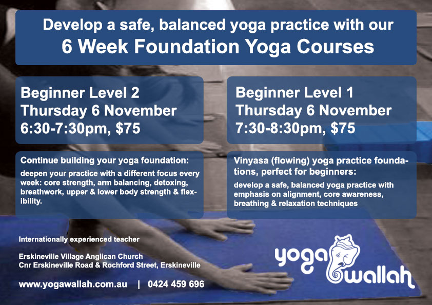Yoga foundation course image, courses start Thurs 6 Nov 2014