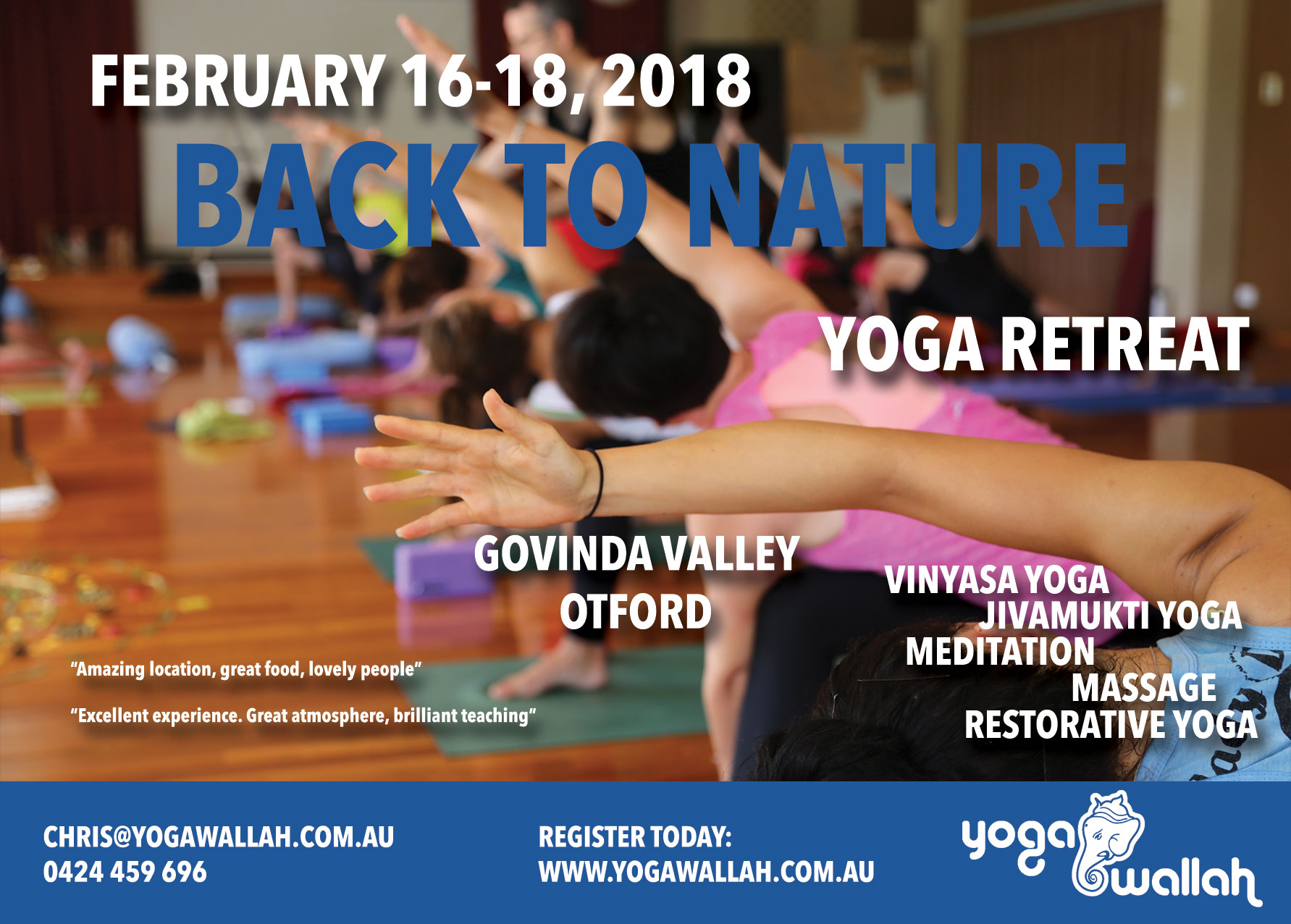 4th Back to Nature Yoga Retreat Feb 16-18, flyer front page