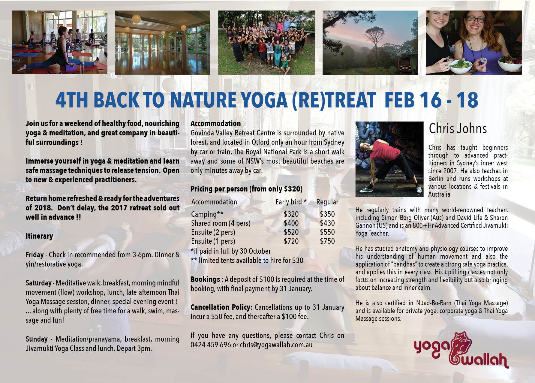 4th Back to Nature Yoga Retreat Feb 16-18, flyer back page
